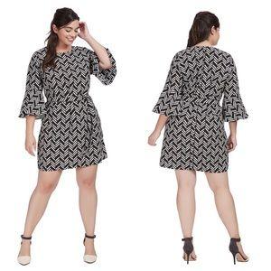 Eloquii Graphic Jam Flared Sleeve Dress